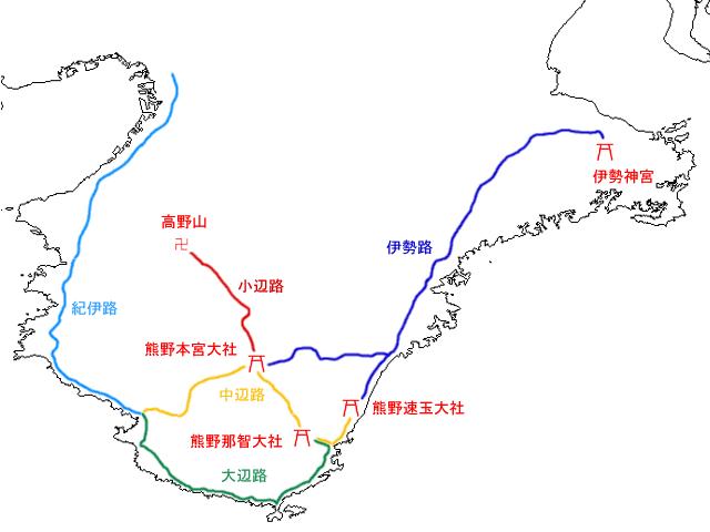 熊野古道のルート図 ウィキペディアより引用